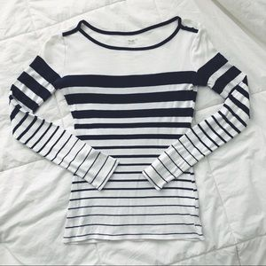 GAP Supersoft Striped Navy Long-Sleeved Tee